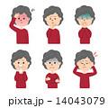 年配女性の表情セット 体調不良 14043079