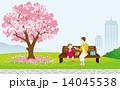 春 桜 ピクニックする母子 14045538