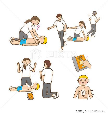 女性 こども AED イラスト
