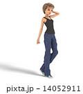 ボーイッシュなファッションの女性 3DCG イラスト素材 14052911