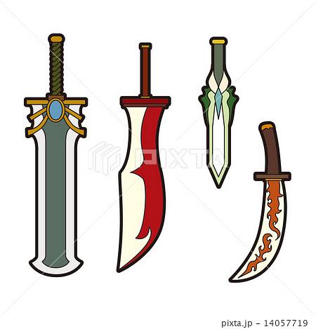 ファンタジーのイラスト武器大剣小刀のイラスト素材 14057719
