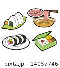 食べ物のイラスト|おにぎり・しゃぶしゃぶ・太巻き・お弁当 14057746