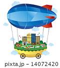 飛行船 街 町並みのイラスト 14072420