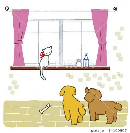 猫と犬 窓の外が気になって 14100907