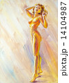 Beautiful naked woman. Oil Painting. 14104987