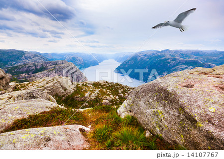 Mountains near the Preachers Pulpit Rock in fjord Lysefjord - No 14107767