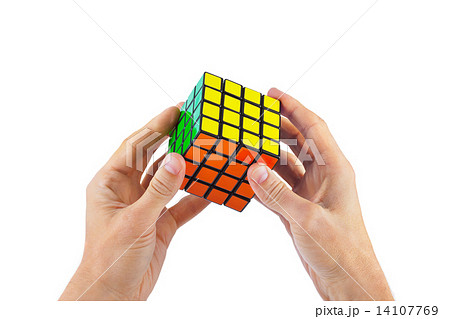 Cube puzzle in hands 14107769
