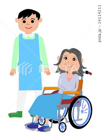 介護系イラスト(車椅子と人物、利用者と介護士) 14114211