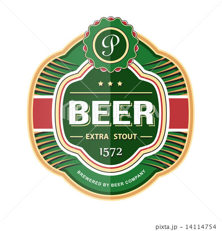 green beer bottle label templateのイラスト素材 14114754 pixta