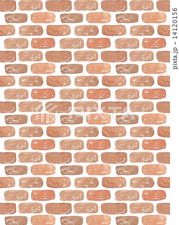 煉瓦 レンガ 煉瓦模様 模様 壁紙 水彩 手描き 白バック 背景 れんが イラスト シンプル 繰り返し ブロック