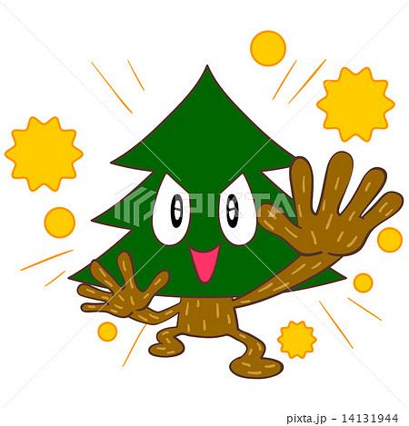 花粉をまき散らす杉の木のキャラクター  14131944
