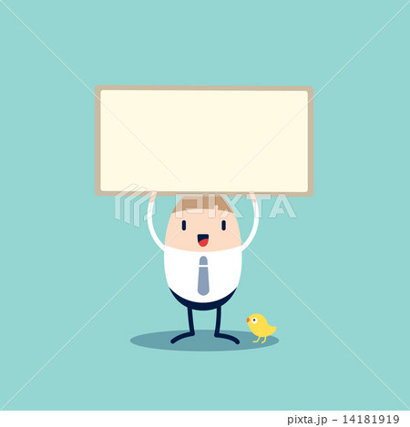 business man cartoon character holding blank sign boardのイラスト