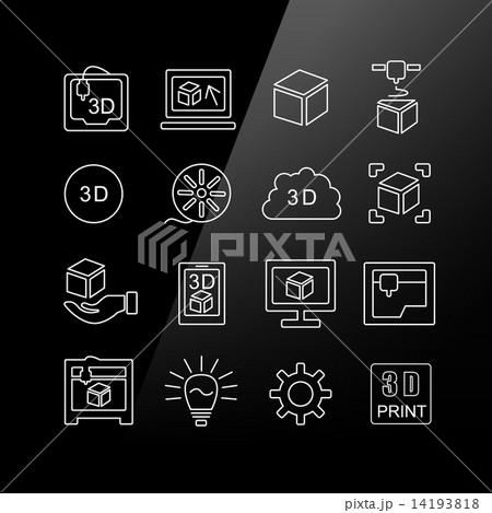 3D print icon set 14193818