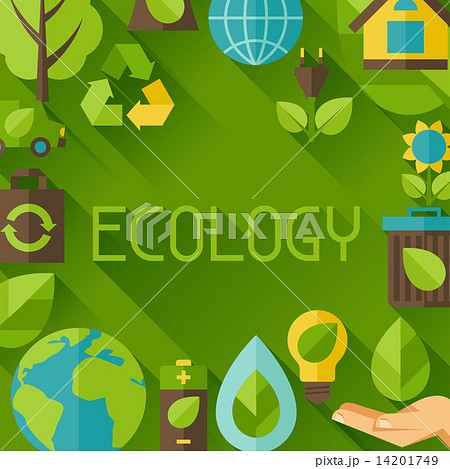 Ecology background with environment icons. 14201749