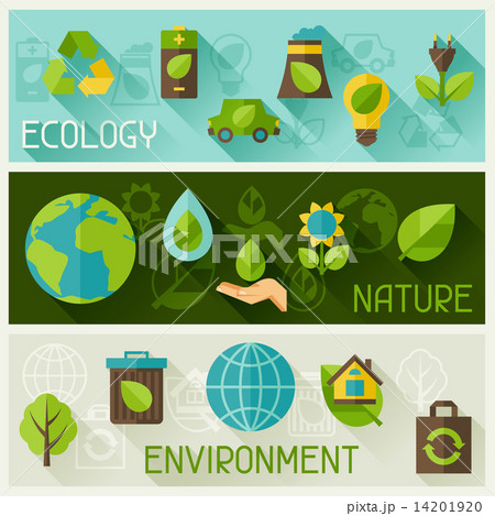 Ecology banners with environment icons. 14201920