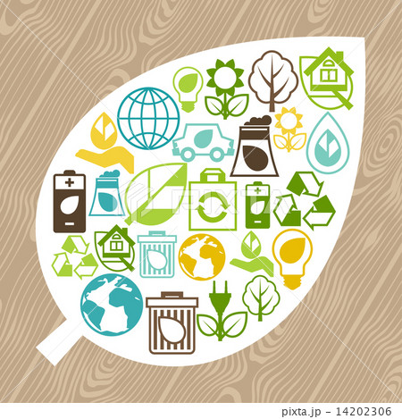 Ecology background with environment icons. 14202306