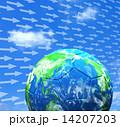 サッカーボール 青空 風のイラスト 14207203