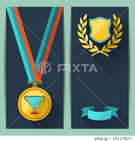 certificate templates with trophies and awards のイラスト素材