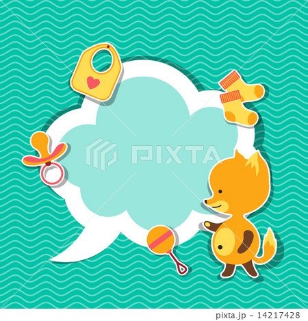 Background photo frame with little cute baby fox.のイラスト素材 [14217428] - PIXTA