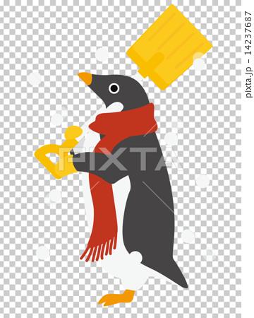 アデリーペンギン 雪かき 14237687