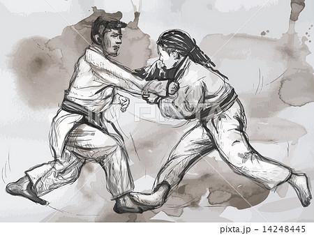 Judo - hand drawn illustration converted into vectorのイラスト素材 [14248445] - PIXTA