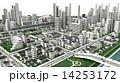 市街地の鳥瞰図の3D-CG 14253172