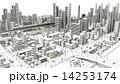 市街地の鳥瞰図の線画 14253174