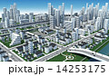 市街地の鳥瞰図の3D-CG 14253175