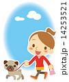 お散歩 ワンちゃんとポニーテールの女性 14253521