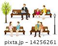 ベンチに座る人々 春 14256261