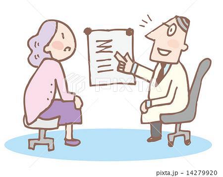説明する医師と聞く女性 14279920