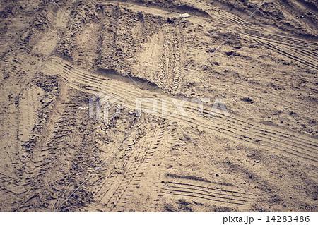Wheel tracks on the soil. 14283486