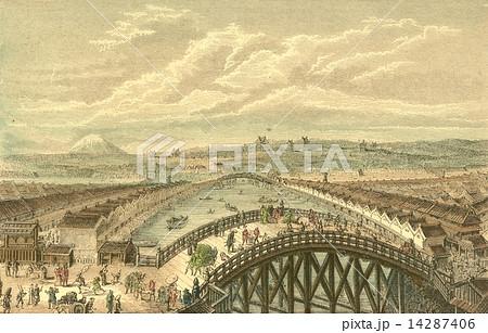 アンティークイラスト 江戸の日本橋19世紀頃のイラスト素材