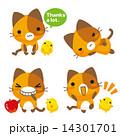 ベクター ひよこ 三毛猫のイラスト 14301701