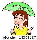 傘 雨 女性のイラスト 14303187