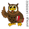 Cartoon owl bird with book 14303632