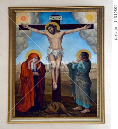Crucifix. Fresco in Armenian Church of St Catherine in Saint-Petersburg, Russiaの写真素材 [14319304] - PIXTA