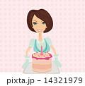 女性 誕生日 ケーキのイラスト 14321979