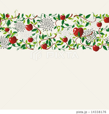 Red apple food seamless pattern garlandのイラスト素材 [14338176] - PIXTA