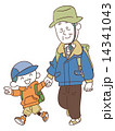 ハイキングする孫とおじいちゃん  14341043