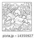 Coloring book (duck), colorless illustration (letter D) 14350927
