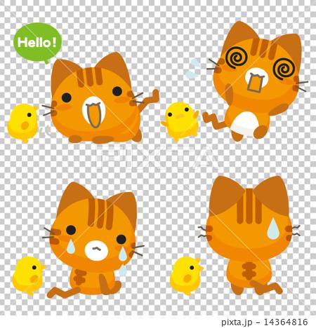 ネコとーく。トラ猫 表情 14364816
