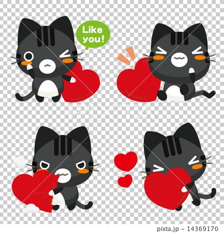 ネコとーく。黒トラ ハート 14369170