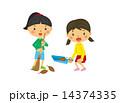 ベクター 掃き掃除 女の子のイラスト 14374335