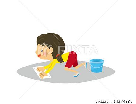 学校 掃除 雑巾 バケツ 子供 雑巾がけのイラスト素材 14374336 Pixta