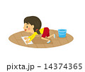 ベクター 雑巾がけ 女の子のイラスト 14374365