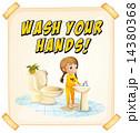 手洗い 洗う 女子のイラスト 14380368