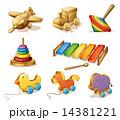 おもちゃ 木製 木造のイラスト 14381221