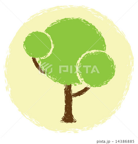 Simple abstract green tree in grunge styleのイラスト素材 [14386885] - PIXTA