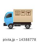宅配 ダンボール トラックのイラスト 14388778